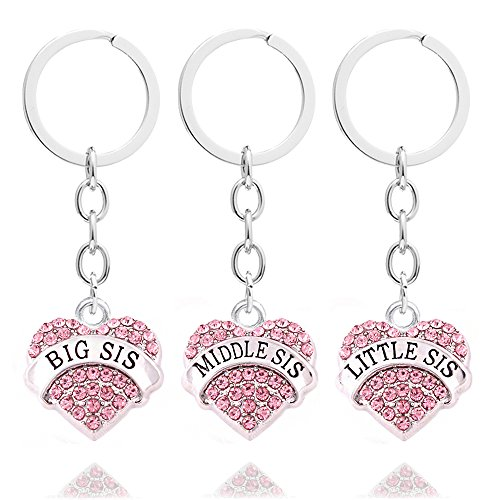 - 51pCPdaKLHL - 3pcs Pink Crystal Big Middle Little Sister Gift Family Friend Key Chain Rings Set Women Girls Keychains