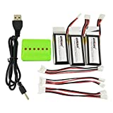 Fytoo 3PCS 3.7V 350Mah Li-polymer Batteries with 1to3 Charger and 1to3 Charge Transfer Line for UDI U818A WiFi FPV U845A U945 WiFi RC Four - axis Aircraft Drone Spare Parts