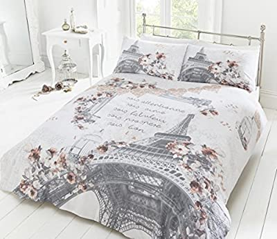 Pieridae Parisian Script Duvet Quilt Bedding Cover & Pillowcase Set Reversible - cheap UK light shop.