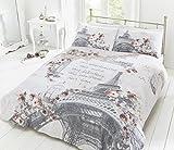 Pieridae Funda de edredón y funda de almohada, reversibles, con diseño de París, 50% algodón/50% poliéster, suelto