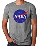 35mm - Camiseta Hombre NASA Logo Retro Old School, Gris, M