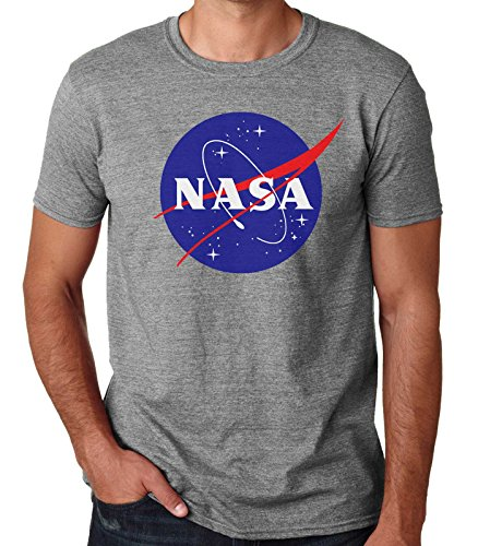 35mm - Camiseta Hombre NASA Logo Retro Old School, Gris, XXL