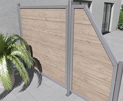 Sichtschutzwand WPC Alu in sand 180x180cm – Sichtschutzzäune Sichtschutzwand Gartensichtschutz Balkonsichtschutz Winschutz Sichtschutzwand für Garten und Terasse Blichschutz für
