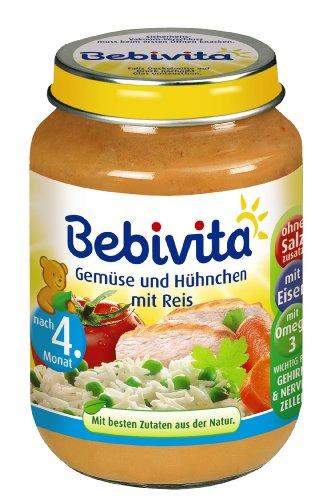 Bebivita Gemüse und Hühnchen mit Reis, 6er Pack (6 x 190 g)