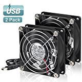 ELUTENG Dual Computer Fan 80mm Quiet Dual 80mm USB Fan for A/V Cabinet Computer Cooling Fan 5V for Receiver DVR Playstation Xbox 80 x 80 x 25mm
