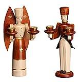 Weihnachtsfiguren Engel und Bergmann natur – Holzengel - Weihnachtsengel – Holzfiguren – Höhe ca. 15 cm - Erzgebirge - NEU