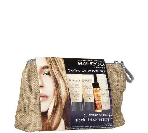 Alterna Bamboo Smooth On The Go Travel Kit Soin de Shampooing Démêlant/Conditionneur/Huile de Traitement/Spray Anti Humidité pour Cheveux 148 ml
