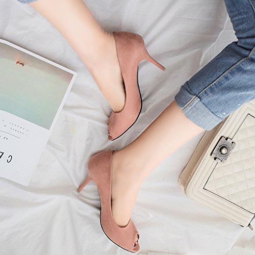 Oasap Women's Low Cut Peep Toe Slip on Stiletto Pumps Nude