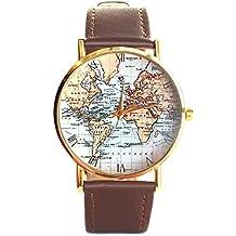 Ancient diseño de Original de mapa del mundo antiguo reloj de muñeca unisex de piel, color marrón