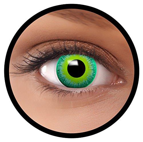 FXEYEZ® Farbige Kontaktlinsen grün Alien + Linsenbehälter, weich, ohne Stärke als 2er Pack - angenehm zu tragen und perfekt zu Halloween, Karneval, Fasching oder Fasnacht