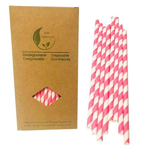 (Trinken Pink Streifen Papier Trinkhalme Party Dekorationen für Mädchen/Dienstmädchen/Prinzessin Parteien)
