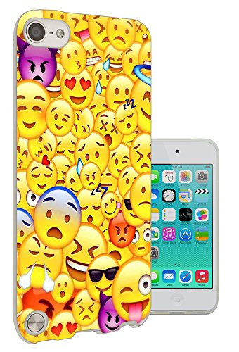 C0889 - Cool Smiley Emoji Collage Heart Eyes Laughing Crying Vampire Cool Sunglasses Design Apple ipod Touch 6 Fashion Trend Protecteur Coque Gel Rubber Silicone protection Case Coque