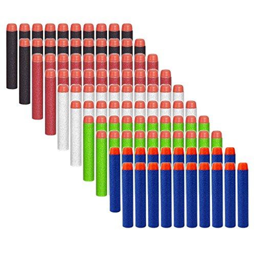 HONGCI 100er 7,2cm Darts Pfeile für alle Nerf Gun N-Strike Elite Blaster, Nerf Zubehör (5 Farben - 03)