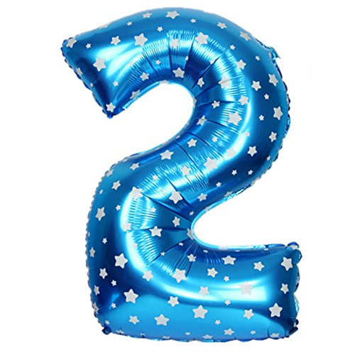 JUSTFOX - Zahl Luftballon XL 75CM Nummer Folienballon Kinder Geburtstag Deko (2, Blau)