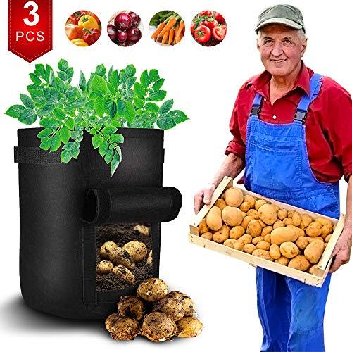 hinataa - 3 sacchi per coltivare patate, in tessuto non tessuto traspirante di alta qualità, per coltivare patate, carote, cipolle