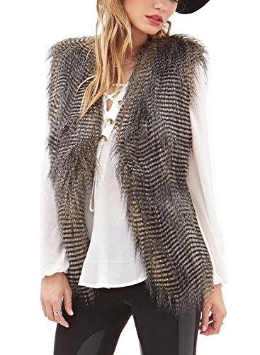 Minetom donne cool gilet senza maniche cappotto capispalla capelli lunghi giacca waistcoat ( it 44 )
