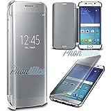 Phonillico® Coque Flip Clear View Argent Samsung Galaxy S7 EDGE - Coque Housse Etui Case Protection Rabat Fenetre Window Cover View Miroir Ultra Slim