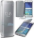 Phonillico Coque Flip Clear View Argent Samsung Galaxy S7 EDGE - Coque Housse Etui Case Protection Rabat Fenetre Window Cover View Miroir Ultra Slim