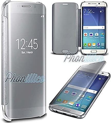 Phonillico® Coque Flip Clear View Argent Samsung Galaxy S7 EDGE - Coque Housse Etui Case Protection Rabat Fenetre Window Cover View Miroir Ultra Slim