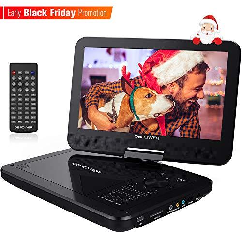 """DBPOWER 10.5"""" Tragbarer DVD-Player mit Wiederaufladbarer Batterie, 1024*600 Digital TFT Schwenkbaren Bildschirm, unterstützt SD-Karte und USB (Schwarz)"""
