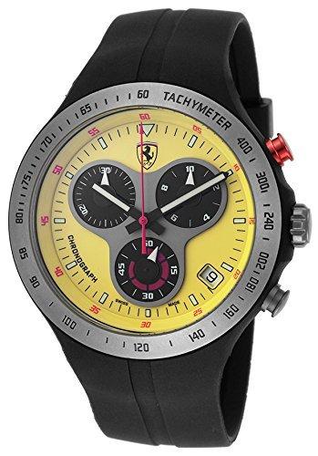 ferrari-homme-montre-chronographe-cadran-jaune-en-silicone-noir