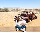 selbstklebende Fototapete - Verlassenes Auto in der Wüste - Namibia - 270x180 cm - Tapete mit Kleber – Wandtapete – Poster – Dekoration – Wandbild – Wandposter – Wand – Fotofolie – Bild – Wandbilder - Wanddeko
