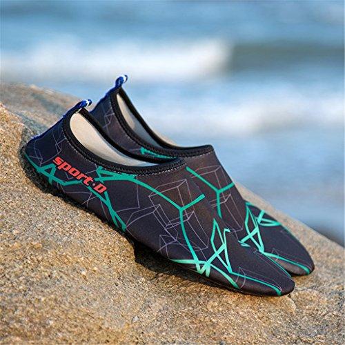 Blion Herren Damen Wasserschuhe Surfschuhe Aquaschuhe Strandschuhe Schwimmschuhe Barfußschuhe Breathable Schnell Trocknend 07 Grün