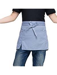 Byqny Delantal Unisex Restaurant Bistro Waiter Delantal Trabajo Medio Delantal Delantal Pequeño Con Dos Bolsillos