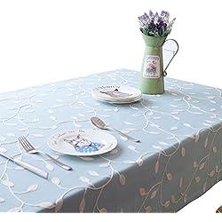 NiSeng Manteles bordados de poliester Manteles de mesa Antimanchas Rectangular para Restaurantes Decoracion de manteles Azul 140x250 cm