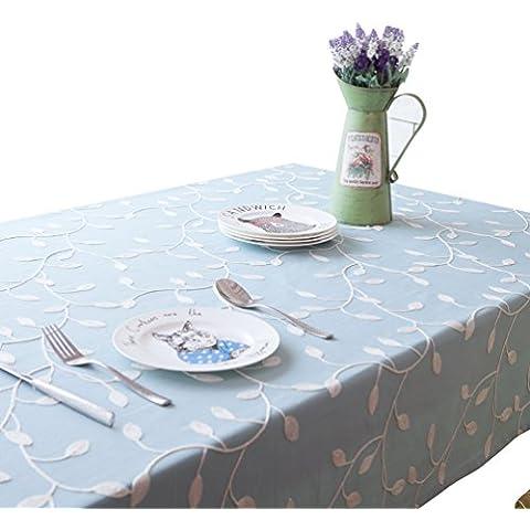 NiSeng Tovaglia da tavolo in poliestere Tovaglia ricamata Tovaglie antimacchia rettangolare quadrata per ristoranti Blu 140x250 cm - Libro Blu Tovagliolo