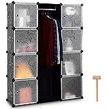 COSTWAY Kleiderschrank Steckregalsystem, Garderobenschrank mit Kleiderstange, Steckschrank DIY, Schuhschrank 12 Fächer schwarz aus Kunststoff inkl. Hammer