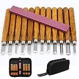 Holz-Schnitzwerkzeug Set, Queta 12 Stück Stechbeiteln Schnitzmesser mit Schleifstein, Holzschnitzerei Meißel Set mit Tasche Schreiner Meißel für Profis und Anfänger