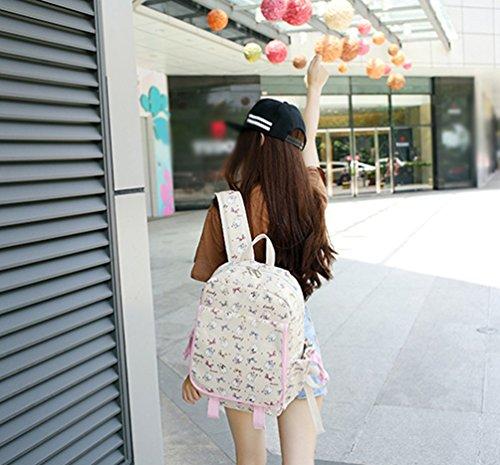 YuanDian Mädchen Teenager Canvas Karikatur Drucken Reduzieren Schulter Belastung Leicht Schulrucksack Schulranzen Cool Geschenk Kinder Rucksack Beige