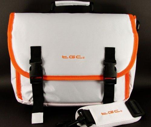 Weiß & Hot Orange Trim Messenger Style Tragetasche für Motorola Xoom Tablet & Cover