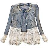 Damen Individuelle Perlen Spitze Nähen war Dünn Jeansjacke Mantel Outwear Kurz Denim Jacke Spitzenbolero Tops, XXL, Blau