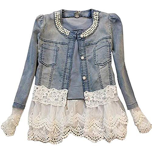 Damen Individuelle Perlen Spitze Nähen war Dünn Jeansjacke Mantel Outwear Kurz Denim Jacke Spitzenbolero Tops, XL, Blau -