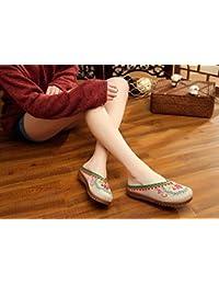 Chnuo Zapatos bordados lenguado de tendón estilo étnico flip flop femenino moda sandalias cómodas y casuales beige 40