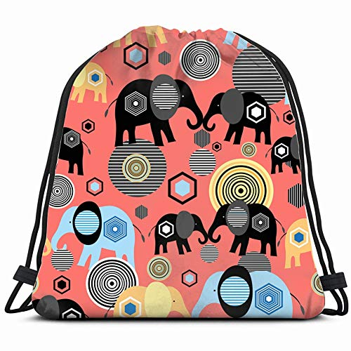 bright graphic elephant lovers on animals wildlife animal Drawstring Backpack Gym Sack Lightweight Bag Water Resistant Gym Backpack for Women&Men for Sports,Travelling,Hiking,Camping,Shopping Yoga