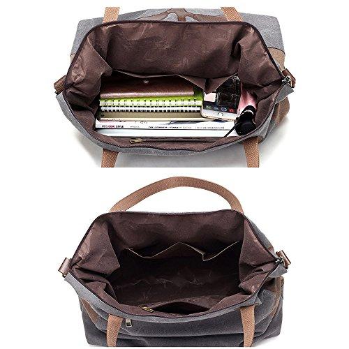 Mufly Handbag Femminile in Tela Semplice Disegno Borsa a Mano Morbida Multiuso con Zipper e Manici Confortevole Grigio