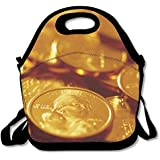 Awesome Gold Coins Money Lunch Bag Lunch Tote Lunch Box Handbag For Kids And Adults