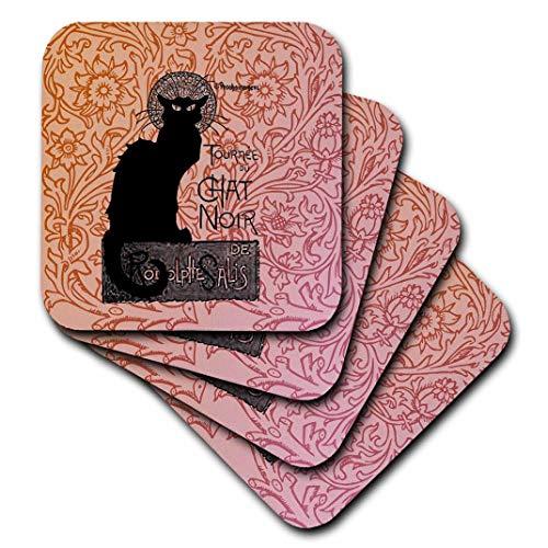 3dRose CST 79211_ 3LE Chat Noir französischer Vintage Schwarz Katze Keramik Fliesen Untersetzer (Set von 4)