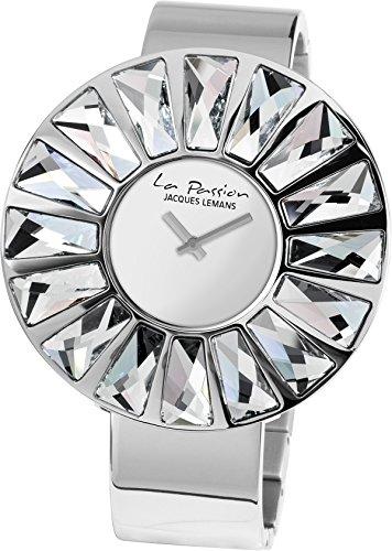 Jacques Lemans Damen Analog Quarz Uhr mit Edelstahl Armband LP-120A