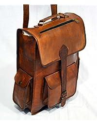 Real piel hecha a mano bandolera marrón Vintage bolso bandolera mochila para hombre bolsa de viaje