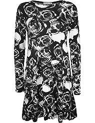 Vestido de manga larga para mujer, diseño de calaveras y rosas, tallas 32-48