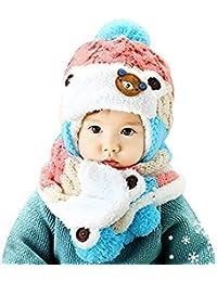 cosanter Mütze Schal Set Baby Winter stricken Pink Wolle Kappe für Kleinkinder 0–3Jahre alt Kinder