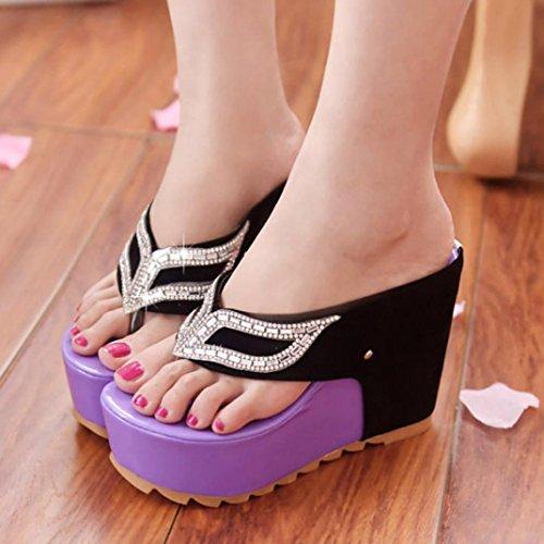 Vovotrade Beautiful Women Fashion Summer Rhinestones Flat Flip Flops Sandals Loafers Viola