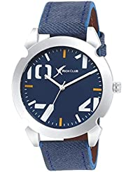 Rich Club Blue Dial And Jeanz Leather Strap Analog Watch For Men And Boys Men at amazon