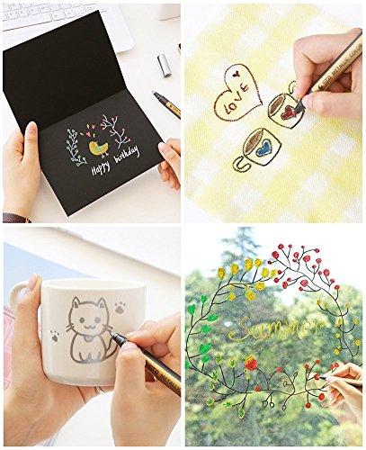 Metallic Marker Pens, Beupro 10 Stück Metallic Permanent Marker für Kartenherstellung DIY Fotoalbum Gästebuch Gebrauch auf irgendeiner Oberfläche-Papier Glas Kunststoff Keramik Töpfer - 6
