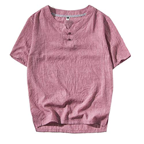 Zilosconcy Homme T-Shirt à Manches Courtes Chemise Col Rond Couleur Unie Boutonné Chemise Quotidien Décontractée Sport pour Le Printemps Éte