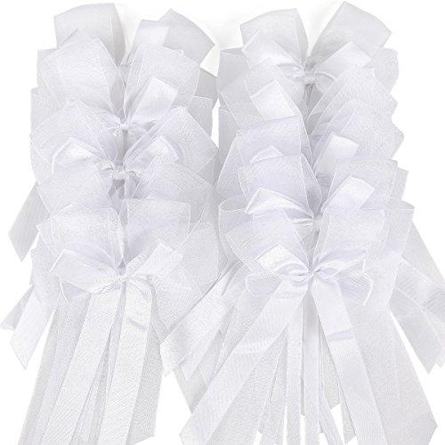 10 X Weiße Satinband pew Schleifen, Hochzeitsautos, Geschenkverpackung, Party Deko Dekoration